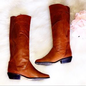 MADE IN BRAZIL Cognac Leather Tall Boots
